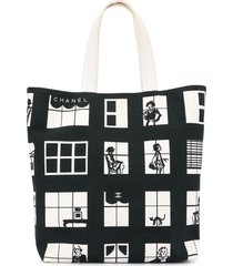 chanel pre-owned windows hand tote bag - white