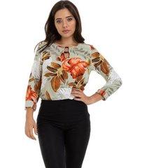 blusa manga longa argola no decote feminino