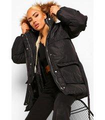 gewatteerde jas met ceintuur en faux fur zoom, black
