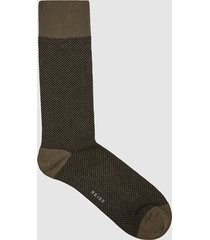 reiss foster - herringbone socks in khaki/black, mens