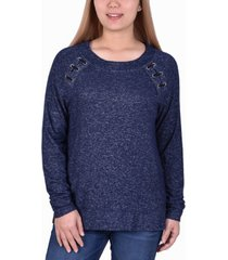 women's long sleeve lacing detail pullover