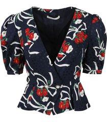 alessandra rich balloon sleeves printed silk jacket
