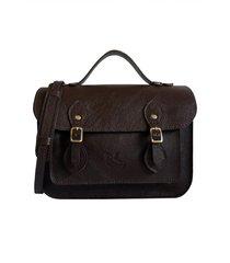 bolsa line store leather satchel pequena couro marrom escuro.
