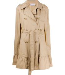 redvalentino red(v) ruffled hem cape - neutrals