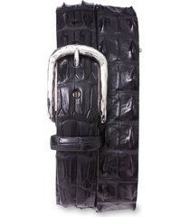 men's torino hornback crocodile leather belt, size 44 - black hornback alligator