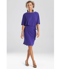 natori matte jersey blouson dress, women's, purple, size m natori