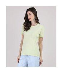 t-shirt feminina mindset manga curta decote redondo verde claro