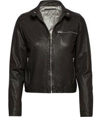 carli thin leather jacket leren jack leren jas zwart mdk / munderingskompagniet