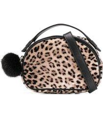 monnalisa leopard print clutch bag - brown