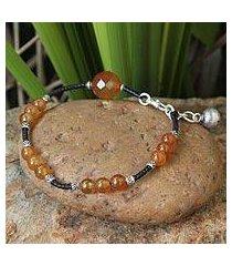 carnelian beaded bracelet, 'autumn sunset' (thailand)