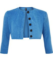 cropped cotton-blend terry cardigan