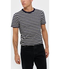 selected homme slhbjorn stripe ss o-neck tee w t-shirts & linnen mörk blå