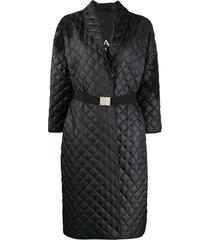 ermanno scervino belted quilted midi coat - black