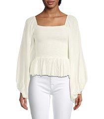 caroline constas women's blair shirred swiss dot blouse - white - size xs