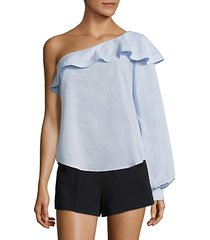 brielle ruffled one-shoulder cotton top