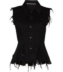 alexander wang distressed-finish sleeveless denim jacket - black
