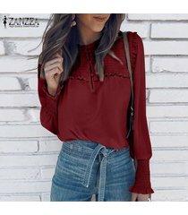 zanzea para mujer casual de las señoras del botón blusa de la gasa de down elásticos puños de camisas tops -rojo