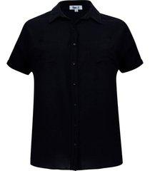 camisa manga corta unicolor color negro, talla 1xl