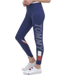 tommy hilfiger women's sport high rise logo 7/8 length leggings
