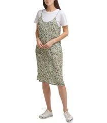 dkny t-shirt-underlay slip dress