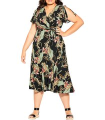 city chic island palm wrap dress, size x-small in royal palm at nordstrom