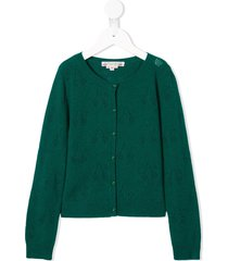 bonpoint cashmere cherry-pattern cardigan - green
