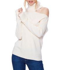 women's paige raundi cutout shoulder sweater, size small - ivory