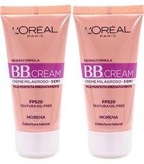 kit 2 bb cream l'oréal paris cor morena fps 20 30ml