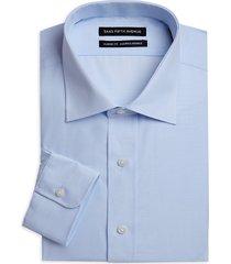 saks fifth avenue men's pinstripe long-sleeve button-front classic-fit shirt - blue - size 16 34