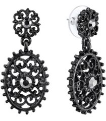 downton abbey black-tone filigree oval with aesthetic beaded edge detail dangle earrings
