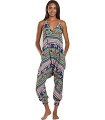 buddha pants women's harem jumpsuit - pink elephant xx-small cotton