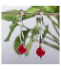 agate half hook earrings, 'scarlet memories' (mexico)