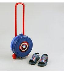 sandália papete infantil grendene capitão américa vem com maleta de rodinhas azul marinho