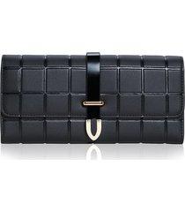 billetera mujeres- cartera de embrague de la tendencia-negro
