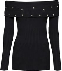 maglione con spalle scoperte e borchie (nero) - bodyflirt boutique