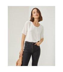 amaro feminino camiseta chiffon essential, off-white