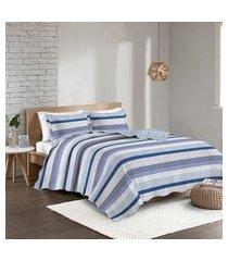 colcha solteiro camesa patchwork linus c/ porta travesseiro azul