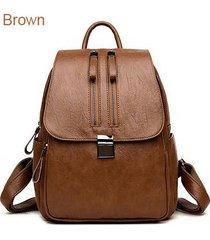mochilas/ doble cremallera mujeres mochila bolsas de-marrón