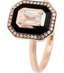 mina' diamond 18k rose gold enamel ring
