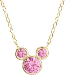 """disney mickey mouse cubic zirconia birthstone pendant necklace with 15"""" chain in 14k yellow gold"""