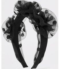 river island womens black polka dot organza flower headband