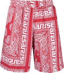 aries paisley print swim shorts - red