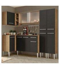 cozinha completa de canto madesa emilly self com balcão, armário vidro miniboreal e paneleiro rustic/preto rustic/preto