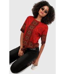 camiseta vinotinto-multicolor desigual