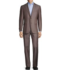 travel standard-fit textured wool-blend suit