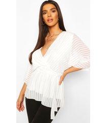 doorschijnende gestreepte wikkel blouse met ceintuur, wit