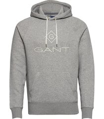 d1. gant lock up hoodie sweat-shirts & hoodies hoodies grijs gant