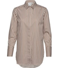 dane stripe shirt overhemd met lange mouwen bruin second female