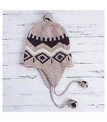 alpaca blend chullo hat, 'burgundy miski wayra' (peru)