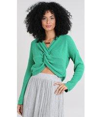 blusa feminina em tricô transpassada manga longa decote v verde